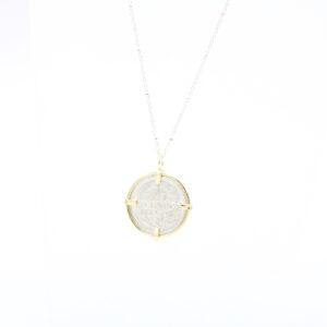 Gave zilveren munthanger met gouden rand