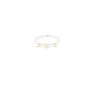 Leuke zilveren ring met gouden bollen