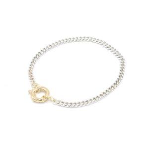 Mooie zilveren schakel armband met goud slot