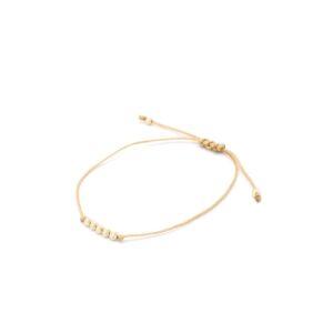Bewerkte bolletjes armband goud