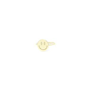 Leuke gouden smiley ring